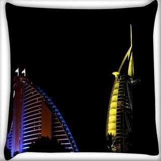 Snoogg Legendary Buildings Digitally Printed Cushion Cover Pillow 16 x 16 Inch