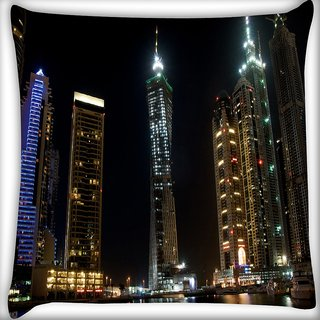 Snoogg Lights On Building Digitally Printed Cushion Cover Pillow 16 x 16 Inch