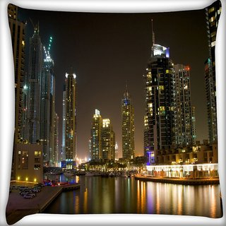 Snoogg Evening View Of Buildings Digitally Printed Cushion Cover Pillow 16 x 16 Inch