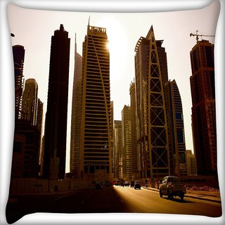 Snoogg Roads In Dubai Digitally Printed Cushion Cover Pillow 16 x 16 Inch