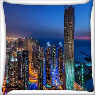 Snoogg Building Lights Digitally Printed Cushion Cover Pillow 16 x 16 Inch