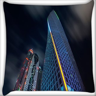 Snoogg Dark Side Of Building Digitally Printed Cushion Cover Pillow 16 x 16 Inch