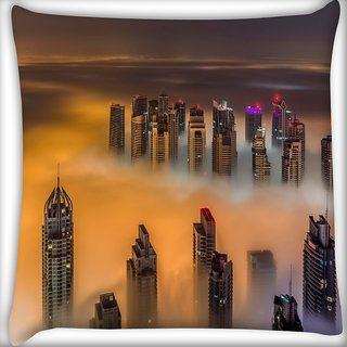 Snoogg Smoky View Of Building Digitally Printed Cushion Cover Pillow 16 x 16 Inch