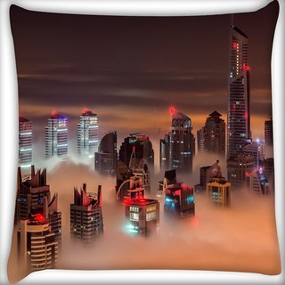 Snoogg Fog In The Top Of Building Digitally Printed Cushion Cover Pillow 16 x 16 Inch