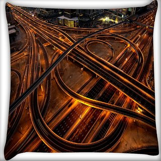 Snoogg Curve Roads Digitally Printed Cushion Cover Pillow 16 x 16 Inch