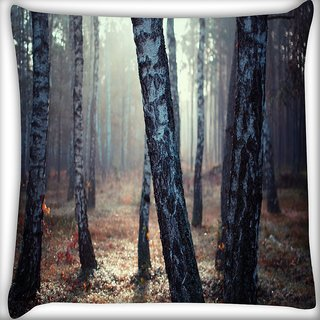 Snoogg White Trees Digitally Printed Cushion Cover Pillow 16 x 16 Inch