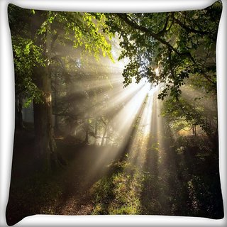 Snoogg Abstract Sunlight In Forest Digitally Printed Cushion Cover Pillow 16 x 16 Inch