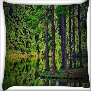 Snoogg Tall Trees On The River Side Digitally Printed Cushion Cover Pillow 16 x 16 Inch