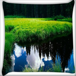 Snoogg Clouds On Water Digitally Printed Cushion Cover Pillow 16 x 16 Inch