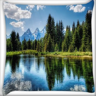 Snoogg Wavy Water Digitally Printed Cushion Cover Pillow 16 x 16 Inch