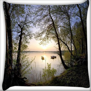 Snoogg Boats In River Digitally Printed Cushion Cover Pillow 16 x 16 Inch