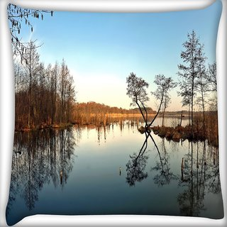 Snoogg Abstract River Digitally Printed Cushion Cover Pillow 16 x 16 Inch