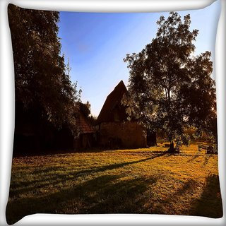 Snoogg House And Tree Digitally Printed Cushion Cover Pillow 16 x 16 Inch