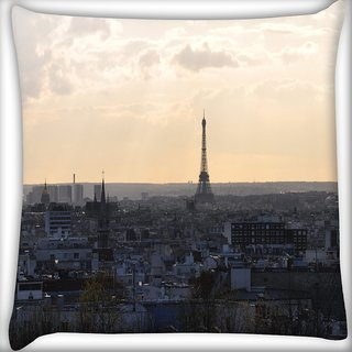 Snoogg Paris City Digitally Printed Cushion Cover Pillow 16 x 16 Inch