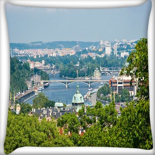 Snoogg Clean City Digitally Printed Cushion Cover Pillow 16 x 16 Inch