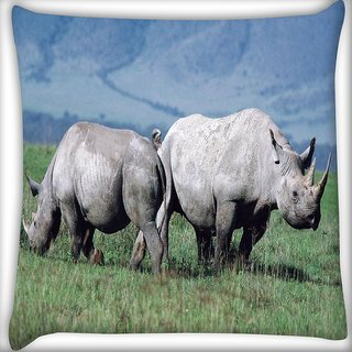 Snoogg Pair Of Rhino Digitally Printed Cushion Cover Pillow 16 x 16 Inch