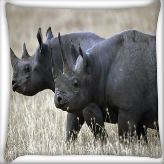 Snoogg Black Rhino Digitally Printed Cushion Cover Pillow 16 x 16 Inch
