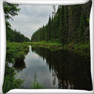 Snoogg Lake Side Trees Digitally Printed Cushion Cover Pillow 16 x 16 Inch