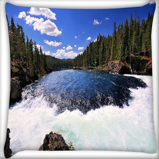 Snoogg Waterfall Digitally Printed Cushion Cover Pillow 16 x 16 Inch