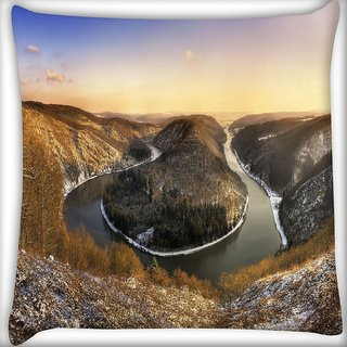 Snoogg Zig Zag Lake Digitally Printed Cushion Cover Pillow 16 x 16 Inch