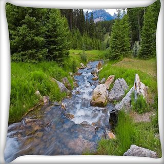 Snoogg Water Flowing Through The Garden Digitally Printed Cushion Cover Pillow 16 x 16 Inch