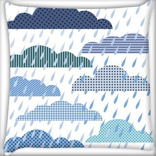 Snoogg Abstract Monsoon Pattern Digitally Printed Cushion Cover Pillow 16 x 16 Inch