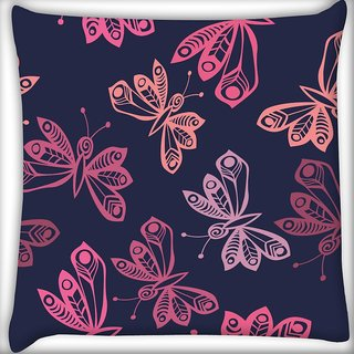 Snoogg Throws Butterflies Digitally Printed Cushion Cover Pillow 16 x 16 Inch