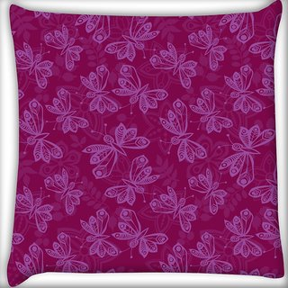 Snoogg Light Butterfly Pink Pattern Digitally Printed Cushion Cover Pillow 16 x 16 Inch