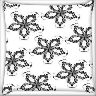 Snoogg Grey Floral Flower Digitally Printed Cushion Cover Pillow 16 x 16 Inch
