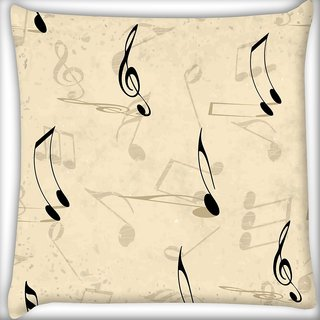 Snoogg Music Strings Digitally Printed Cushion Cover Pillow 16 x 16 Inch