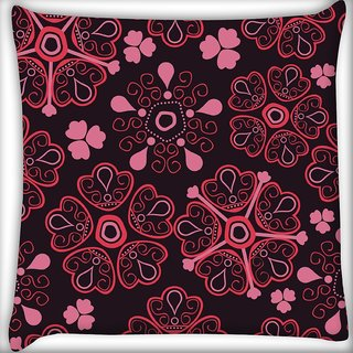 Snoogg Floral Red Digitally Printed Cushion Cover Pillow 16 x 16 Inch