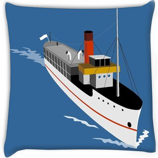 Snoogg  passenger steamship boat Digitally Printed Cushion Cover Pillow 16 x 16 Inch