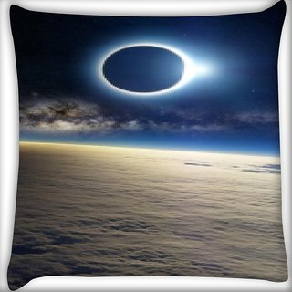 Snoogg Planet View Digitally Printed Cushion Cover Pillow 16 x 16 Inch