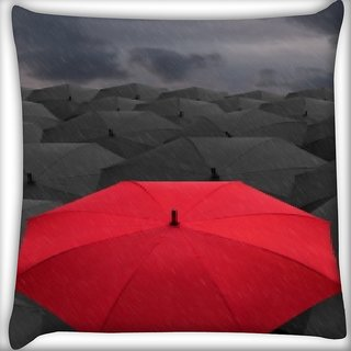 Snoogg Red Umbrella Digitally Printed Cushion Cover Pillow 16 x 16 Inch