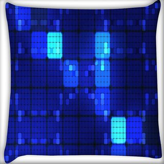 Snoogg Blue Blocks Digitally Printed Cushion Cover Pillow 16 x 16 Inch