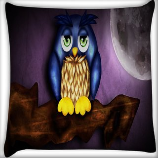 Snoogg Cute Owl Digitally Printed Cushion Cover Pillow 16 x 16 Inch