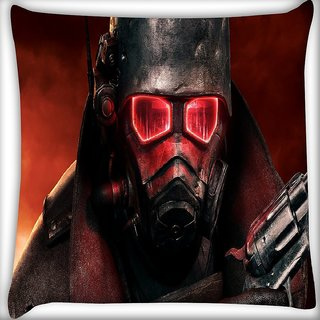 Snoogg Red Eye Army Digitally Printed Cushion Cover Pillow 16 x 16 Inch