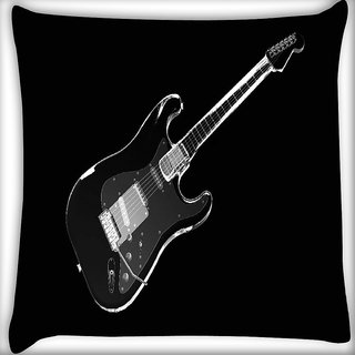 Snoogg Black Guitar Digitally Printed Cushion Cover Pillow 16 x 16 Inch