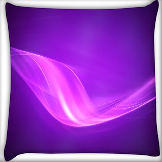 Snoogg Design Purple Wave Digitally Printed Cushion Cover Pillow 16 x 16 Inch