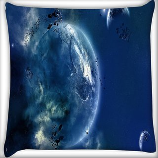 Snoogg Amazing Space Digitally Printed Cushion Cover Pillow 16 x 16 Inch