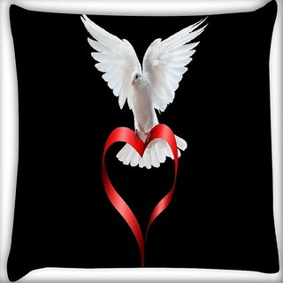 Snoogg Peace Of Heart Digitally Printed Cushion Cover Pillow 16 x 16 Inch