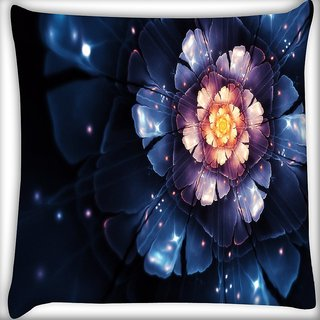 Snoogg Beautiful Blue Flower Digitally Printed Cushion Cover Pillow 16 x 16 Inch