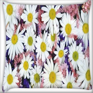 Snoogg White Petal Flower Digitally Printed Cushion Cover Pillow 16 x 16 Inch