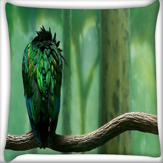 Snoogg Green Feathered Bird Digitally Printed Cushion Cover Pillow 16 x 16 Inch