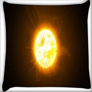 Snoogg Moon In Space Digitally Printed Cushion Cover Pillow 16 x 16 Inch