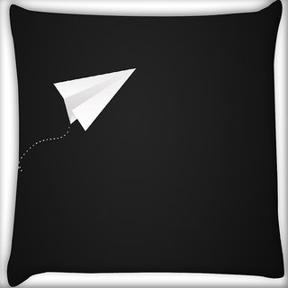 Snoogg Paper Plane Digitally Printed Cushion Cover Pillow 16 x 16 Inch