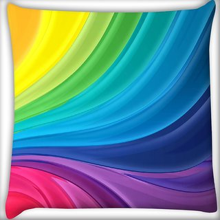 Snoogg Mixed Rainbow Color Digitally Printed Cushion Cover Pillow 16 x 16 Inch