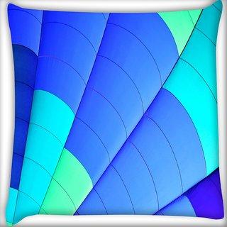 Snoogg Blue Parachute Digitally Printed Cushion Cover Pillow 16 x 16 Inch