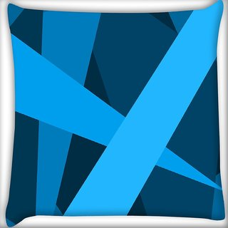 Snoogg Blue Color Strips Digitally Printed Cushion Cover Pillow 16 x 16 Inch
