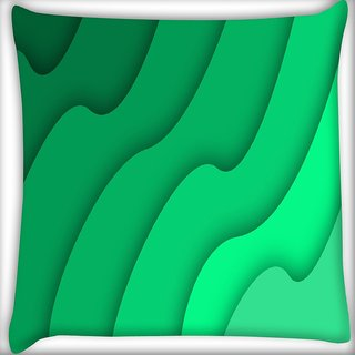 Snoogg Abstract Green Pattern Digitally Printed Cushion Cover Pillow 16 x 16 Inch